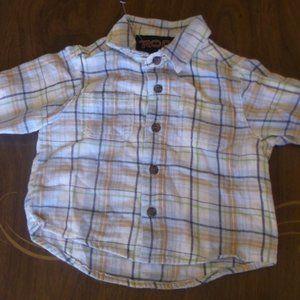 White Long Sleeve Plaid Shirt Boy 6 months